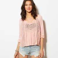 AE MIXED LACE BOHO T-SHIRT