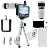 CamKix 9 Piece Camera Lens Kit for iPhone 5 including 1 White 8x Telephoto Lens / 1 Fish Eye Lens / 1 Macro Lens / 1 Wide Angle Lens / 1 Mini Tripod / 1 White Hard Case / 1 Universal Phone Holder / 1 Velvet Phone Bag / 1 Cleaning Cloth (White)