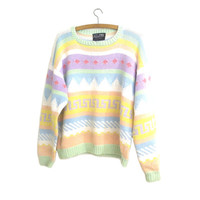 vtg. Easter pastel sweater / jumper / knit / jersey / pullover