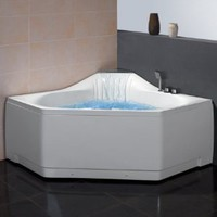 "Ariel Platinum Corner Whirlpool Bathtub 59"" x 59"" x 31.5"" Pentagon Self Cleaning 2 Person"