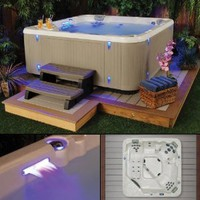 Southern Star, 6-Person, 41-Jet Hot Tub, Brown Cabinet, Multi-colored LED Mood Lighting & Waterfall