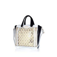 WHITE LASER CUT PANEL TOTE BAG