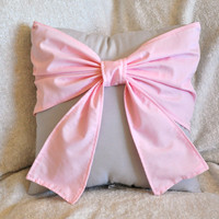 Decorative Throw Pillow - Baby Nursery Pillow- Light Pink Bow on White Pillow