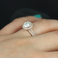 Kimberly Original Size 14kt Rose Gold Thin Round FB Moissanite and Diamond Halo Wedding Set (Other metals and stone options available)