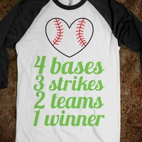 4 bases 3 strikes 2 teams 1 winner (baseball tee)