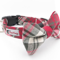Red , Grey , Cream Plaid Dog Collar (Collar Only - Matching Bow Tie Available Separately)