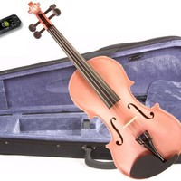 Music Basics Violin Complete Kit with Free Tuner - Pink 1/2 Size (VLN-12-Pink 1/2)