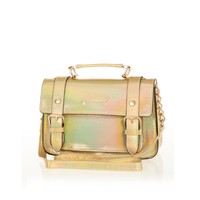 GOLD HOLOGRAPHIC SNAKE SATCHEL
