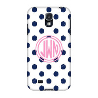 Monogram Samsung case, Monogram Galaxy s4 -Monogram Samsung s4-Blue Dots Monogrammed Samsung case,Customized Samsung Galaxy case
