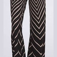 Black Ivory Sexy Aztec Chevron Print High Waist Knit Palazzo Pants Wide Leg