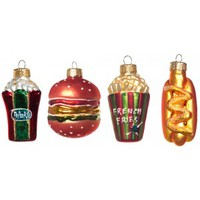 FAST FOOD XMAS ORNAMENT SET