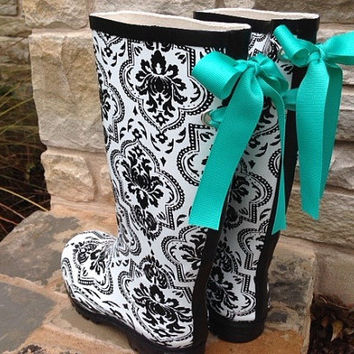 Black and White Damask Gloss Rain Boots with Tiffany Bow
