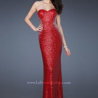 La Femme 18605 Red Sequin Dress