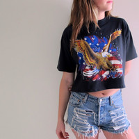 American Eagle Crop Top Cropped Tee Womens Shirt USA America Harley Davidson Urban Flag