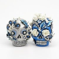 RETRO BLUE AND SILVER SKULL LOVER CAKE TOPPER by sweetiecaketopper
