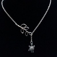 Silver Turtle and Leaves Lariat Necklace