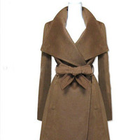 3 Colors Big lapel long coat jacket woolen blouse plus size trench coat windcheater windcoat wool jacket woman winter coat. 184