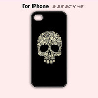 Floral Skull,iPhone 5 case,iPhone 5C Case,iPhone 5S Case, Phone case,iPhone 4 Case, iPhone 4S Case