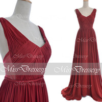 Burgundy Gown, 2014 Prom Dresses, Straps V Neck Long Chiffon Burgundy Prom Dresses, Wedding Party Dresses, Burgundy Chiffon Gown