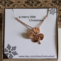 Rose Gold Four Leaf clover Necklace, Real four-leaf clover dipped in rose gold, Lucky pendant, Unique Jewelry Gift Ideas, Birthday, Shamrock