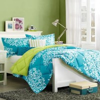 Turquoise Blue & Green Girls Twin Comforter Set & BONUS TOSS PILLOWS (4 Piece Bed In A Bag)