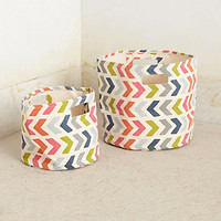 Chevron-Pop Canvas Basket by Pehr Red Motif