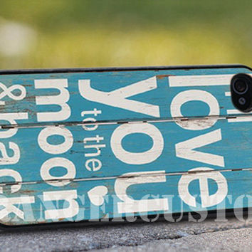 I love to the moon and back wooden - iPhone 4/4s/5/5s/5c Case - Samsung Galaxy S3/S4 - Blackberry z10 Case - Black or White
