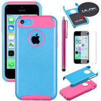 Pandamimi UlAK(TM) Hybrid Rubber Rugged Combo Matte TPU + PC 2-Piece Style Soft Hard Case Cover for iPhone 5C with Screen Protector and Stylus (Blue+Rose Pink)