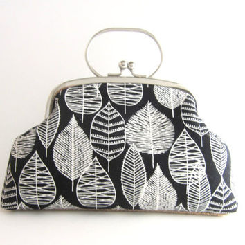 Frame Clutch Purse with Handle- leaves on black