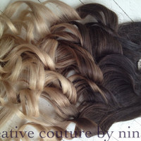 """Ombre Hair Extensions//DipDye//Dark Brown Hair and Wheat Blonde Fade//(7) Pieces//16""""//Custom Your Fade"""