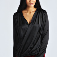 Elsie Long Sleeve Wrap Front Silky Blouse