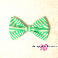 Mint green stripe bow hair clip - big bow hair clip - mint hair bow - retro - kawaii - women - teens