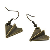 Antique Brass Finish Alloy Harry Style Paper Airplane One Direction Earrings