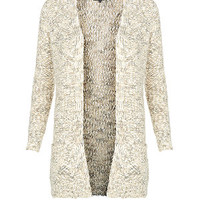 Cream Metallic Popcorn Knit Cardigan