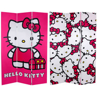 Two Ft. Tall Double Sided Hello Kitty Bicycle Canvas Room Divider, Width 47.25 Inches Or