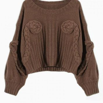 Brown Flower Knit Cropped Sweater