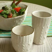 Supermarket - Cable knit ceramic cups - Ivory from Reshape Studio