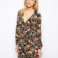 ASOS Wrap Tulip Dress In Pretty Floral Print