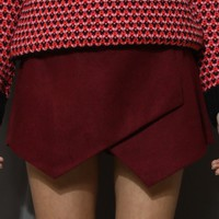 Wine Red Asymmetric Wool Felt Skort