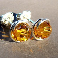 6mm Topaz Swarovski Crystal Post Earrings Wire Wrapped in Sterling Silver Stud Earrings Topaz Studs