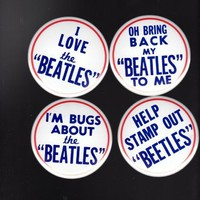 Set of 4 Vintage Beatles Pinback Buttons Replica / Copy