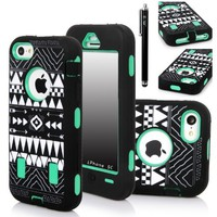 E-LV Deluxe Printed Hard Soft High Impact Hybrid Armor Defender Case Combo for Apple iPhone 5C with 1 Screen Protector, 1 Black Stylus and 1 Microfiber Sticker Digital Cleaner (iPhone 5C, Tribal Green)