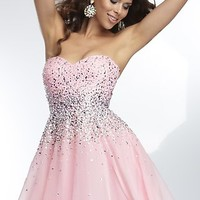 Short Mori Lee Strapless Dress