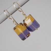 Ametrine Earrings Nugget Gemstone Dangle 14k Gold Fill - November Birthstone