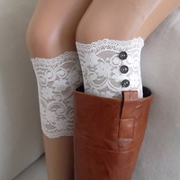 White lace boot cuffs with button boho boot socks lace cuffs women's accessory leg warmers back to school