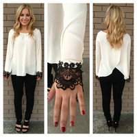 Cream Slit Back Blouse with Black Crochet Sleeve