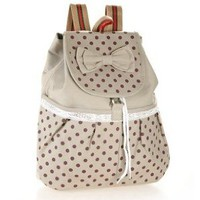 Girl's Lovely Sweet Bowknot Leisure Canvas Backpack for Student