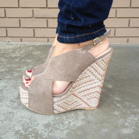 Taupe Suede-Like Florence-13 Wedges