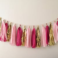 Pink and Gold Tassel Garland on Gold Rope - Valentines Day, Party Decor, Birthday Party, Weddings, Nursery, Baby Shower, & Photo Props