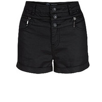 Black Coated High Waisted Shorts